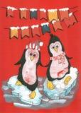 Pinguini di Buon Natale Fotografia Stock Libera da Diritti