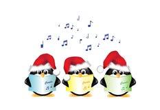 Pinguini di canto del canto natalizio isolati Fotografia Stock