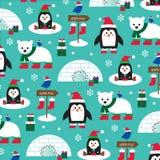 Pinguini di inverno ed orsi polari illustrazione di stock