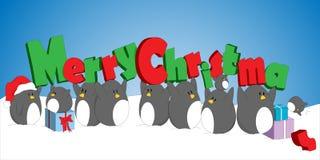 Pinguini di Natale Fotografia Stock