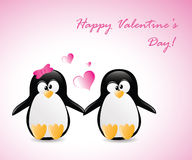 Pinguini di saluto del biglietto di S. Valentino Fotografia Stock