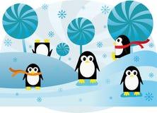Pinguini divertenti del fondo variopinto Fotografie Stock Libere da Diritti