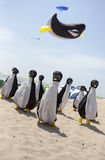 Pinguini e aquilone della balena Fotografia Stock Libera da Diritti