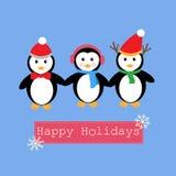 Pinguini ed insegna per la festa felice Fotografie Stock Libere da Diritti