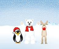 Pinguini, orsi polari e renna illustrazione vettoriale