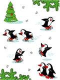 Pinguini pattinanti, personaggi dei cartoni animati Fotografia Stock Libera da Diritti