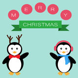 Pinguini per il Buon Natale Immagine Stock