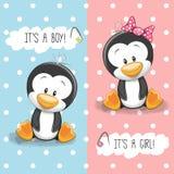Pinguini ragazzo e ragazza Immagini Stock Libere da Diritti