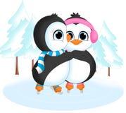 Pinguini su ghiaccio Fotografie Stock