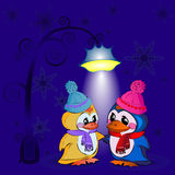 Pinguini sulla notte di San Silvestro Immagini Stock