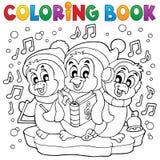 Pinguini svegli 4 del libro da colorare Fotografie Stock