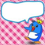Pinguinkönig-Textboxhintergrund Stockfoto