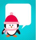 Pinguino con il cappello e la sciarpa illustrazione vettoriale