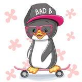 Pinguino con il pattino royalty illustrazione gratis