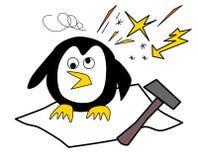 Pinguino con l'emicrania che si siede sul ghiaccio illustrazione di stock