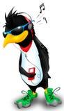 Pinguino con musica Fotografia Stock