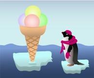 Pinguino con un gelato Immagini Stock Libere da Diritti