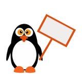 Pinguino con un segno su un fondo bianco Immagini Stock