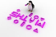 pinguino 3d con il concetto della fonte di per la matematica Immagine Stock Libera da Diritti
