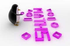 pinguino 3d con il concetto della fonte di per la matematica Immagini Stock