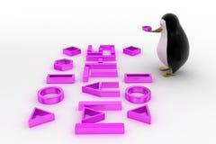 pinguino 3d con il concetto della fonte di per la matematica Fotografie Stock