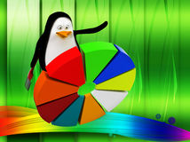 pinguino 3d con l'illustrazione del diagramma a torta Fotografia Stock Libera da Diritti
