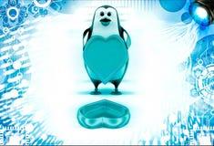 pinguino 3d con l'illustrazione dorata del cappuccio della scatola di forma di amore Immagini Stock