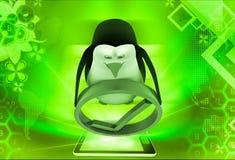 pinguino 3d con la giusta illustrazione di simbolo Fotografie Stock
