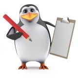 pinguino 3d con la lavagna per appunti Immagini Stock