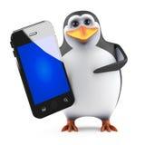 pinguino 3d con lo smartphone Fotografia Stock