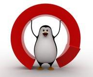 pinguino 3d nell'ambito del concetto a forma di rotondo rosso della freccia Immagini Stock Libere da Diritti