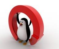 pinguino 3d nell'ambito del concetto a forma di rotondo rosso della freccia Fotografie Stock Libere da Diritti
