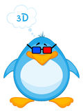 Pinguino del fumetto in 3d-glasses Fotografie Stock