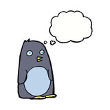 pinguino del fumetto con la bolla di pensiero Fotografia Stock Libera da Diritti