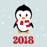 Pinguino del fumetto con la sciarpa ed il testo Immagini Stock