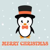 Pinguino del fumetto con testo ed il cappello Fotografia Stock Libera da Diritti