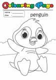 Pinguino del libro da colorare della pagina di coloritura Adatto facile del grado a bambini Immagine Stock Libera da Diritti