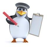 pinguino dell'ufficiale 3d con la lavagna per appunti Fotografia Stock Libera da Diritti