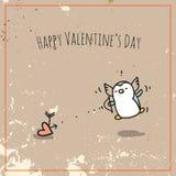 Pinguino di giorno di biglietti di S. Valentino Fotografia Stock