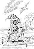 Pinguino di imperatore con i pulcini e lo stercorario Fotografia Stock