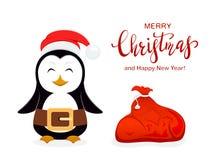 Pinguino di Natale con Santa Hat ed il sacco rosso su fondo bianco fotografia stock libera da diritti