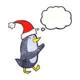 pinguino di natale del fumetto con la bolla di pensiero Fotografia Stock Libera da Diritti