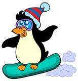 Pinguino di snowboard Immagine Stock
