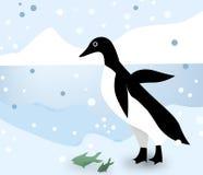 Pinguino in ghiacciai illustrazione di stock