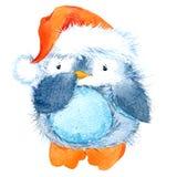 Pinguino lanuginoso sveglio dell'uccello Pinguino divertente dell'acquerello illustrazione vettoriale