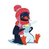 Pinguino malato triste con il termometro e la bevanda calda Immagine Stock