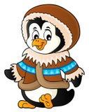 Pinguino nel tema 1 dell'abbigliamento di inverno illustrazione di stock