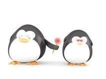Pinguino nell'amore Fotografia Stock