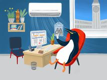 Pinguino nell'ufficio illustrazione vettoriale
