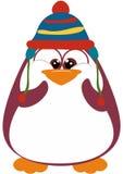 Pinguino pieno di vita con il cappello di inverno Fotografia Stock Libera da Diritti